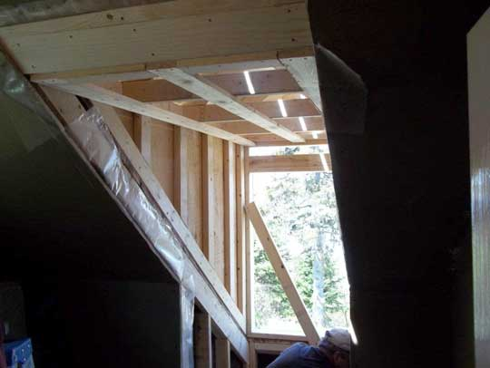 Mark Oickle Construction framing out the new dormer window, during renovation of Heritage Cape Cod home
